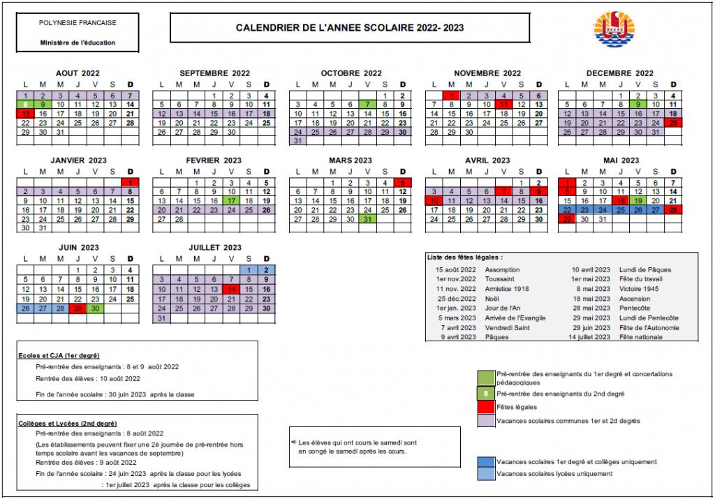 Téléchargez les calendriers scolaires de 2020 à 2023 • TNTV Tahiti