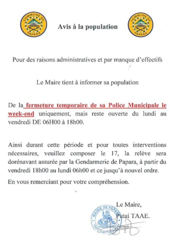 Papara annonce la fermeture de sa police municipale le week-end