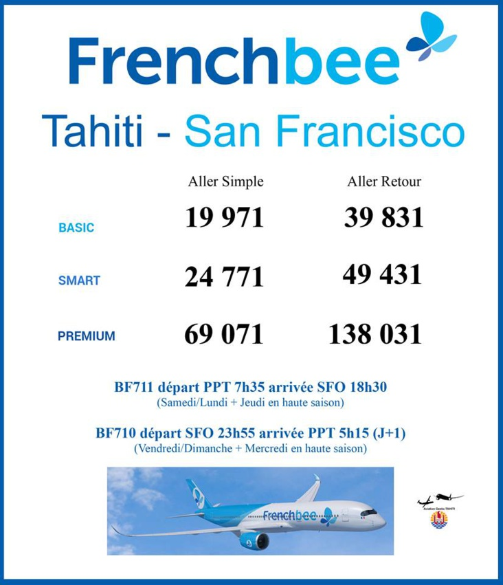 French Bee lance un Tahiti - San Francisco à 19 971 Fcfp