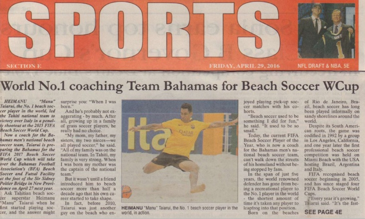 Heimanu Taiarui en Une de la rubrique sports du magazine bahaméen The tribune